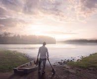 Morning at the lake stock photos
