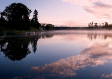 Morning Seliger lake mist landscape Royalty Free Stock Photo