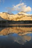Morning lake and mountain. Lake and mountain reflections in wedge pond in the morning moment, kananaskis country, alberta, canada Royalty Free Stock Photography