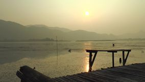 Morning Lake and Mountain stock footage