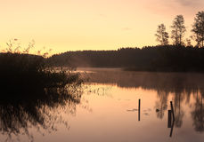 Lake Seliger: morning reflections silhouettes Royalty Free Stock Images