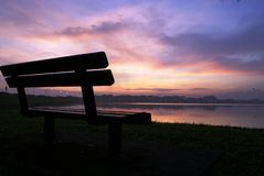 Morning at lake scenery royalty free stock photo