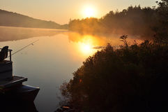 Morning lake. Sunrise over the lake with mist.  This picture was taken early in the morning Royalty Free Stock Image