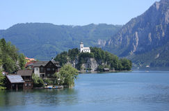 Morning of Lake Traunsee, Upper Austria. Lake Traunsee is a stunning sight, set amid unspoilt natural beauty in the heart of the Salzkammergut Lake District. The Royalty Free Stock Photography
