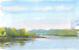 Morning on the lake. Watercolor drawing of the early morning on the lake Royalty Free Stock Photos