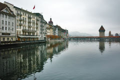 Morning landscape of Chapel Bridge over Reuss River, city of Lucerne, Switzerland Stock Photos
