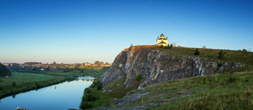 Morning landscape with Church of the Kazan Icon of the Mother of God, Russia, Ural, village Aramashevo Royalty Free Stock Photo