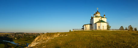 Morning landscape with Church of the Kazan Icon of the Mother of God, Russia, Ural, village Aramashevo Royalty Free Stock Image