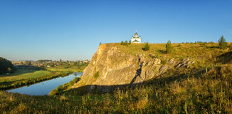 Morning landscape with Church of the Kazan Icon of the Mother of God, Russia, Ural, village Aramashevo Royalty Free Stock Photography