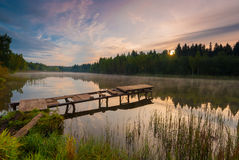 Morning landscape with fog over the lake Stock Photography