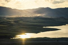 Morning landscape on the lake Stock Photo