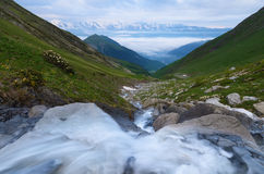 Morning landscape with mountain rive Stock Image