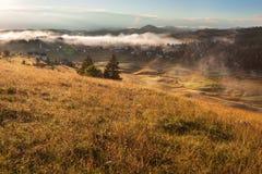 Morning landscape in mountain tourist resort Stock Photos