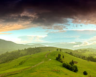 Morning landscape in the mountains. Carpathian Royalty Free Stock Photo