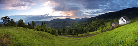 Morning landscape in the mountains. Carpathian Stock Photos