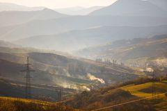 Morning landscape of mountains in the Carpathians stock image