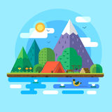 Morning landscape in the mountains. Solitude in nature by the river. Weekend in the tent. Hiking and camping Royalty Free Stock Image