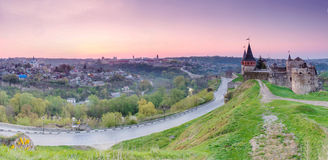 Morning landscape panorama of the old fortress on. Landscape panorama of the old fortress on the hill. Morning in the old town. Kamenetz-Podolsk, Ukraine, Europe Stock Photo
