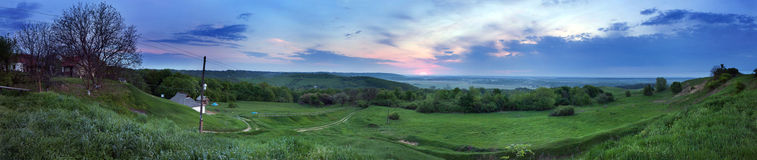Morning landscape panoramic view. Royalty Free Stock Images
