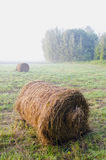 Morning landscape with rolling haystack and mist Royalty Free Stock Photography