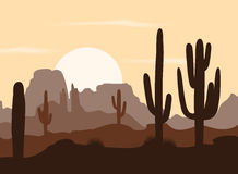 Morning landscape with saguaro cacti and mountains. Vector illustration Stock Image