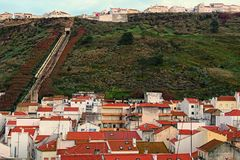 Morning landscape of upper city and lower town in ancient city of Nazare. Two parts of the city connects by the funicular. It is one of the most popular royalty free stock images
