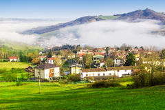 Morning landscape with village in the Apennines mountains Royalty Free Stock Images