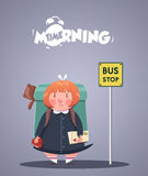 Daily Morning Life. Angry girl waiting for bus Royalty Free Stock Image