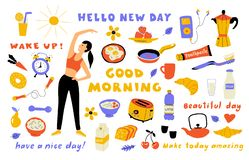 Morning lifestyle, cute doodle set with lettering. Cartoon woman performing exercise, breakfast food. Hand drawn vector stock photos