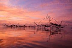Square dip nets in southern sea, Baan Pak Pra, Phatthalung, Thailand. The morning light at Baan Pak Pra, Khuan Khanun District, Phatthalung during summer. Photo royalty free stock photo