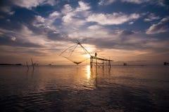 Square dip nets in southern sea, Baan Pak Pra, Phatthalung, Thailand. The morning light at Baan Pak Pra, Khuan Khanun District, Phatthalung during summer. Photo stock photos