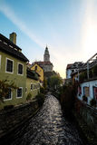 Morning light in Cesky Krumlov through the town and canel Royalty Free Stock Photo