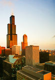 Morning light of Chicago. Chicago buildings at night. USA Royalty Free Stock Photo