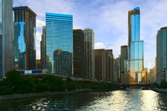 Morning light of Chicago. Chicago buildings in day light. USA Stock Photos