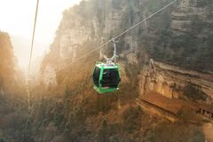 Colorful of Longest Cable Car In The World ,Zhang Jia Jie. stock photos