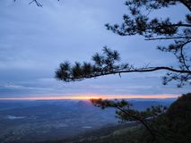 Morning light and colorful sky above mountain royalty free stock image