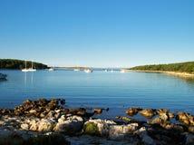 Morning light in Croatia sea. Ships in Croatia sea in the morning light Stock Image