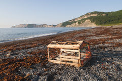 Lobster Trap on Gaspe Shoreline Royalty Free Stock Image