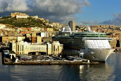 Morning light on Freedom of the Seas. Early morning light on Freedom of the Seas whilst in Naples, Italy in September 2017 Royalty Free Stock Photos