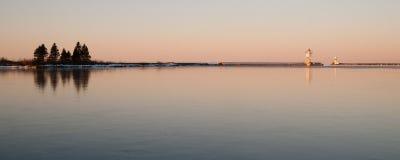 Morning Light Harbor Grand Marais Lighthouse Lake Superior Minne Stock Images