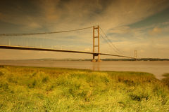 Morning Light,  Humber Bridge. View of the Humber Bridge spanning the Humber Estuary between Barton on Humber on the south bank, and Hessle on the north bank Royalty Free Stock Photos