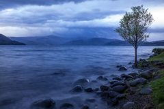 Morning light of lake toya hokkaido one of most popular travelin royalty free stock photo