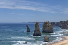 Morning light on the landmark Twelve Apostles along the Great Ocean Road in Victoria, Australia royalty free stock photos