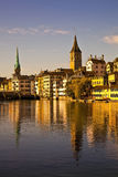 Morning light in Limmat River, Zurich Stock Photo