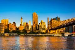 Morning light on the Manhattan skyline and Queensboro Bridge, se Stock Photos