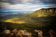 Morning light into the Megalong Valley Blue Mountains royalty free stock photo