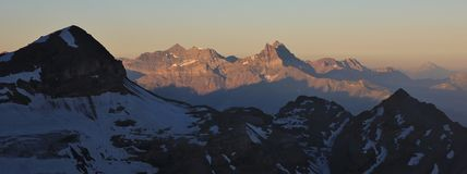Morning light on mount Dents du Midi Royalty Free Stock Images