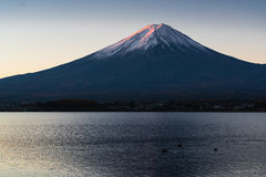 Morning light of mount Fuji reflection Royalty Free Stock Image