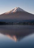 Morning light of mount Fuji reflection Stock Image
