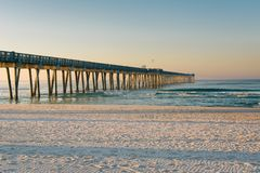 Free Morning Light On The M.B. Miller County Pier And Sandy Beach Along The Gulf Of Mexico, In Panama City Beach, Florida Stock Image - 147567141